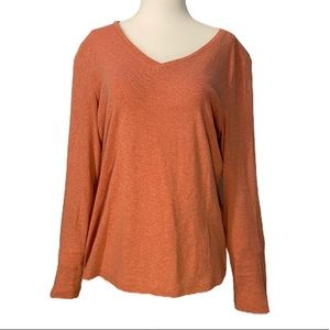 Talbots Orange Cotton Long Sleeved Orange V-Neck